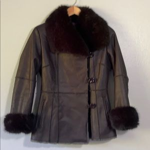 Velvet by Graham & Spencer Black faux fur coat - P